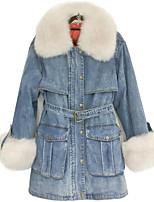 Недорогие -Жен. На выход Обычная Куртка, Однотонный Отложной Длинный рукав Полиэстер Синий M / L / XL