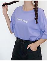 Недорогие -женская футболка - письмо с шеей