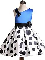 Недорогие -Дети Девочки Классический Однотонный Без рукавов Платье Синий 110