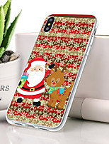 baratos -Capinha Para Apple iPhone XR Ultra-Fina / Estampada Capa traseira Natal Macia TPU para iPhone XR