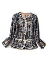 Недорогие -женский хлопок тонкий куртка - сплошной цвет