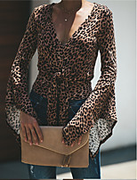 Недорогие -Жен. Футболка Классический / Шинуазери (китайский стиль) Леопард