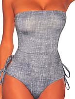 Недорогие -Жен. Классический Бикини - Открытая спина / Шнуровка, Смелые Однотонный