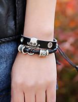 Недорогие -Муж. Плетение Кожаные браслеты - Кожа Череп Панк Браслеты Черный Назначение Повседневные