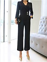 Недорогие -Жен. Повседневные Классический Рубашечный воротник Черный Комбинезоны, Однотонный M L XL Длинный рукав