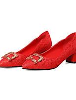 baratos -Mulheres Sintéticos Primavera Verão Doce / Temática Asiática Sapatos De Casamento Salto Robusto Dedo Fechado Vermelho / Festas & Noite