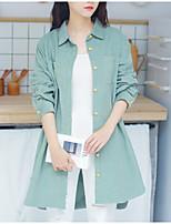 abordables -chemise de sortie pour femme - col de chemise de couleur unie