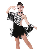 baratos -Dança Latina Vestidos Mulheres / Para Meninas Treino / Espetáculo Elastano / Lycra Drapeado Lateral / Em Camadas / Cristal / Strass Meia Manga Collant / Pijama Macacão / Vestido