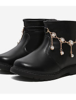 Недорогие -Девочки Обувь Кожа Зима Модная обувь Ботинки Стразы для Дети Черный / Красный / Розовый