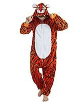 baratos -Adulto Pijamas Kigurumi Tiger Pijamas Macacão Flanela Laranja Cosplay Para Homens e Mulheres Pijamas Animais desenho animado Festival / Celebração Fantasias / Riscas