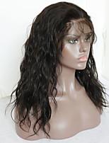 Недорогие -Не подвергавшиеся окрашиванию человеческие волосы Remy Лента спереди Парик Бразильские волосы Волнистый Парик Стрижка каскад Средняя часть Боковая часть 130% Плотность волос / Природные волосы