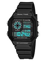 Недорогие -Муж. Спортивные часы Японский Цифровой 30 m Защита от влаги Календарь С двумя часовыми поясами силиконовый Группа Цифровой Мода Черный / Белый - Белый Черный / Хронометр / Фосфоресцирующий