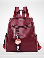 Недорогие -Жен. Мешки PU рюкзак Молнии Сплошной цвет Синий / Черный / Красный
