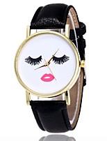 abordables -Femme Montre Bracelet Quartz Montre Décontractée Drôle Cuir Bande Analogique Décontracté Noir / Blanc / Marron - Marron Vert Kaki