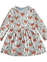 Недорогие -Дети Девочки Активный Геометрический принт Длинный рукав Платье Цвет радуги 100