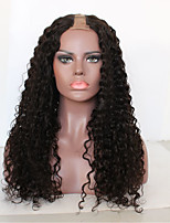 Недорогие -Не подвергавшиеся окрашиванию человеческие волосы Remy U-образный Парик Бразильские волосы Мелкие кудри Loose Curl Парик Стрижка каскад С конским хвостом 130% Плотность волос / Природные волосы