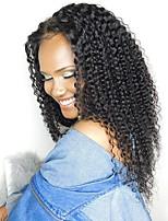 Недорогие -человеческие волосы Remy Необработанные натуральные волосы Лента спереди Парик Бразильские волосы Kinky Curly Мелкие кудри Парик 130% Плотность волос / Природные волосы / с детскими волосами