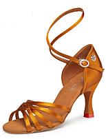 Недорогие -Жен. Обувь для латины Сатин На каблуках Кубинский каблук Танцевальная обувь Черный / Бронзовый / Телесный