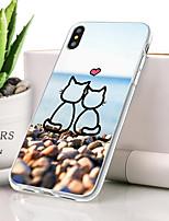 Недорогие -Кейс для Назначение Apple iPhone XS Max Защита от пыли / Ультратонкий / С узором Кейс на заднюю панель Кот / Мультипликация Мягкий ТПУ для iPhone XS Max