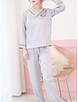 abordables -Coeur Costumes Pyjamas Femme Couleur Pleine