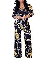 Недорогие -Жен. Повседневные Классический Глубокий V-образный вырез Черный Розовый Темно синий Широкие Комбинезоны, Цветочный принт L XL XXL Длинный рукав / Сексуальные платья