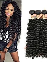 Недорогие -3 Связки Бразильские волосы Индийские волосы Крупные кудри 8A Натуральные волосы Необработанные натуральные волосы Подарки Косплей Костюмы Головные уборы 8-28 дюймовый Естественный цвет