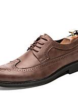 Недорогие -Муж. Комфортная обувь Полиуретан Зима На каждый день Туфли на шнуровке Нескользкий Черный / Серый / Коричневый