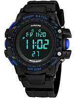 baratos -Homens Relógio Esportivo Japanês Digital 30 m Impermeável Calendário Dois Fusos Horários Silicone Banda Digital Fashion Preta - Preto / Vermelho Preto / Azul