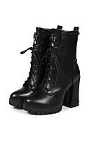 Недорогие -Жен. Полиуретан Осень Ботинки Блочная пятка Закрытый мыс Ботинки Черный / Тёмно-синий
