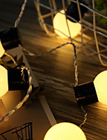 Недорогие -5 метров Гирлянды 20 светодиоды Тёплый белый Декоративная Аккумуляторы AA 1 комплект