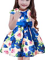Недорогие -Дети Девочки Классический Однотонный С короткими рукавами Платье Синий 110