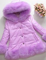 Недорогие -Дети / Дети (1-4 лет) Девочки Классический Однотонный Без рукавов Искусственный мех Жилет Розовый 90