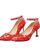 abordables -Femme Matière synthétique Printemps été Doux / Chinoiserie Chaussures de mariage Kitten Heel Bout pointu Rouge / Mariage / Soirée & Evénement