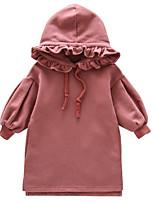Недорогие -Дети Девочки Активный Повседневные Однотонный Рюши Длинный рукав Выше колена Платье Красный