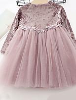 Недорогие -Дети (1-4 лет) Девочки Активный Повседневные Однотонный Длинный рукав До колена Полиэстер Платье Розовый