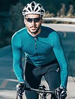 Недорогие -SANTIC Муж. Длинный рукав Велокофты - Синий Серый Винно-красный Однотонный Велоспорт Джерси Верхняя часть Терилен / Слабоэластичная / Плотное облегание / Италия Импортные чернила