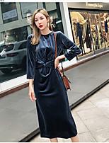 abordables -Femme Basique Maxi Gaine Robe Bleu M L XL Manches Longues