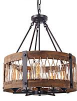 baratos -QINGMING® 5-luz Mini Lustres Luz Superior Acabamentos Pintados Madeira Metal Madeira / Bambu Estilo Mini 110-120V / 220-240V