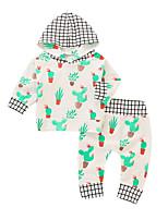 billiga -Bebis Flickor Grundläggande Dagligen Blommig Långärmad Normal Normal Bomull / Polyester Klädesset Gul 100