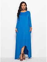 abordables -Femme Chic de Rue Maxi Gaine Robe Couleur Pleine Printemps Automne Bleu Noir XL XXL XXXL Manches Longues