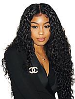 Недорогие -человеческие волосы Remy 6x13 Тип замка Лента спереди Парик Бразильские волосы Волнистый Парик Глубокое разделение 150% 180% Плотность волос Регулируется Жаропрочная Лучшее качество Толстые с клипом