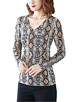 Недорогие -женская тонкая футболка - леопард в шею