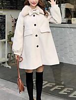 Недорогие -Жен. На выход Длинная Куртка, Однотонный Отложной Длинный рукав Полиэстер Бежевый / Серый / Хаки Один размер