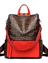 Недорогие -Жен. Мешки PU рюкзак Молнии Геометрический принт Черный / Красный