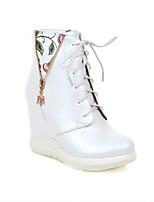 Недорогие -Жен. Полиуретан Наступила зима На каждый день Ботинки Туфли на танкетке Круглый носок Сапоги до середины икры Белый / Синий / Розовый
