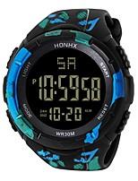 Недорогие -Муж. Спортивные часы Японский Цифровой 30 m Защита от влаги Секундомер Хронометр PU Группа Цифровой Роскошь Мода Черный / Синий / Красный - Светло-черный Красный Синий Два года Срок службы батареи