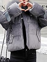 Недорогие -Жен. Повседневные Однотонный Короткая На подкладке, Полиэстер Длинный рукав Капюшон Розовый / Бежевый / Серый L / XL / XXL / Свободный силуэт