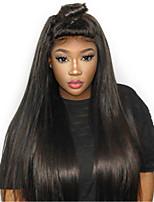 Недорогие -Remy Полностью ленточные Лента спереди Парик Бразильские волосы Прямой Естественный прямой Парик Ассиметричная стрижка 130% 150% 180% Плотность волос Женский Легко туалетный Натуральный