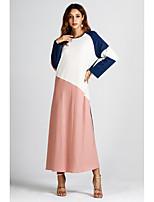 abordables -Femme Basique Maxi Ample Abaya Robe - Mosaïque Automne Rose Claire L XL XXL Manches Longues