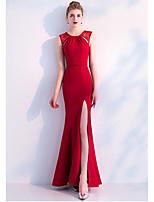 baratos -De Baile Decorado com Bijuteria Longo Cetim Elástico Evento Formal Vestido com Fenda Frontal de LAN TING Express